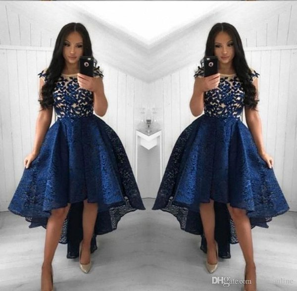 2019 Navy Blue Lace Cocktail Dresses A Line Crew Neck High Low Short Party Prom Gowns Homecoming Dresses Arabic Evening GownsVestidos