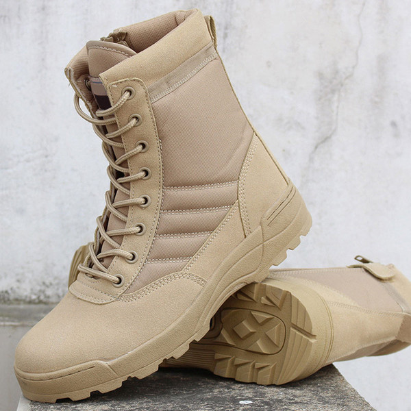 Men Canvas Leather Shoes Military Tactical Army Combat Boots Warm And Comfortable Outdoor Ankle Boots