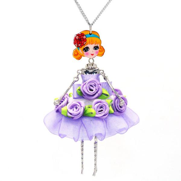 5pcs/set Ethnic Style Doll Hang Pendant Neckace Purple Skirt Girls Necklace For Women Girl Children Accessories sku0032
