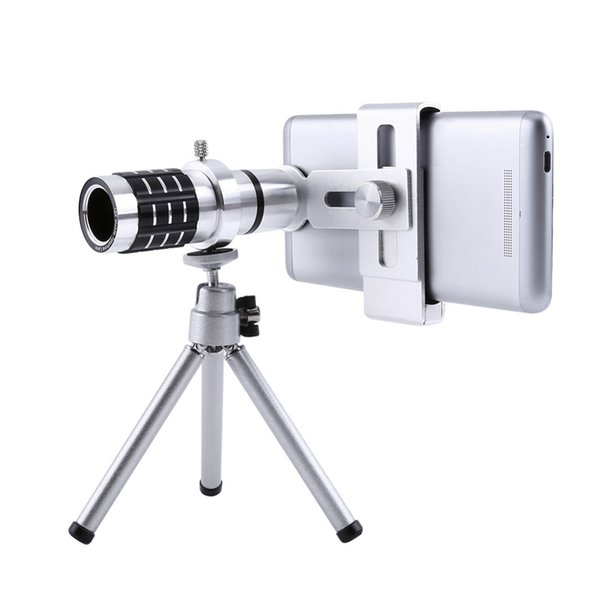 Freeshipping 12X Zoom Camera Telephoto Telescope Lens + Mount Tri Kit For iPhone Xiaomi Samsung Huawei HTC Universal