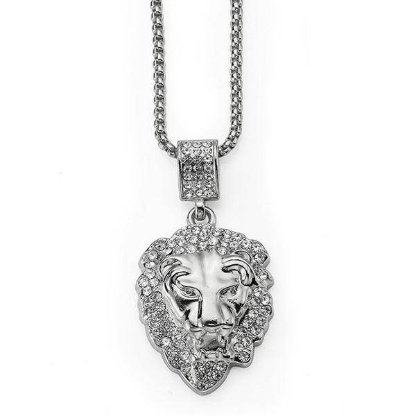 Fashion Men Lion Head Animal Necklace Full Crystal Design Punk Rock Micro Hip Hop Jewelry Men Pendant Necklaces For 75cm Long Chains