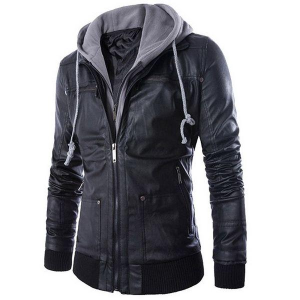 2018 New Leather Jacket Men Coats Brand High Quality PU Outerwear Mens Business Winter Faux Fur Male Jacket Fleece 2XL