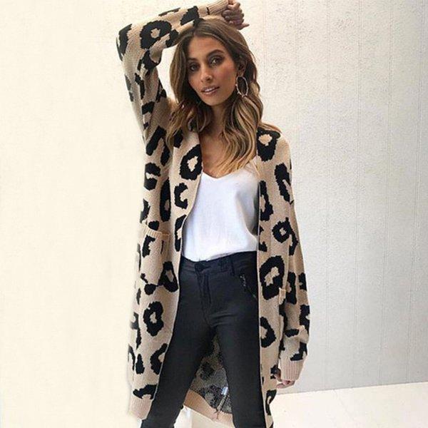 Großhandel Lange Hülse Leopard Lange Strickjacke Mäntel Frauen Strickjacken Beiläufige Tasche Dehnbare Gestrickte Mantel Herbst Winter Warme Paare