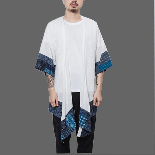 Cotton Linen Japanese Kimono Cardigan Men Trench Male Autumn Long Coats Cape Loose Men's Shawl Spring Jacket Mens Overcoats 2018