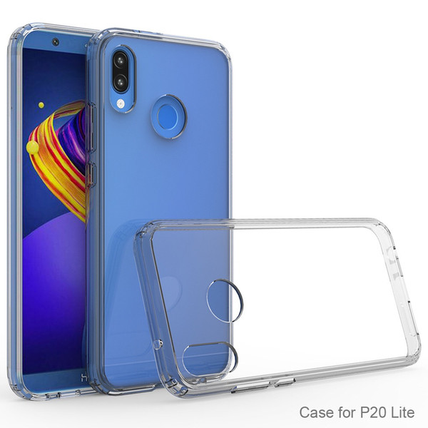 PURE KASE for Huawei P20 lite Phone Case Crystal Clear Transparent PC Back TPU Bumper Scratch Resistant Clear Cover for Huawei P20
