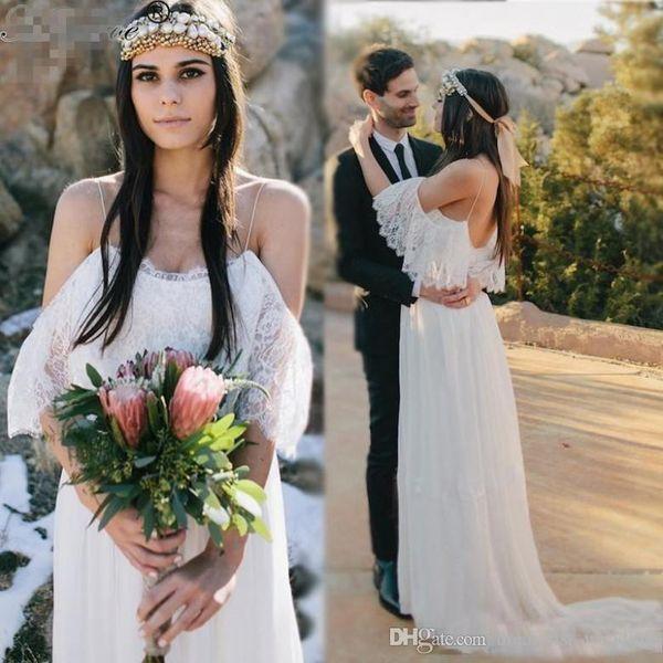 Bohemian 2017 Beach Wedding Dresses For Pregnant Women Lace Chiffon Bohemian Wedding Dress Empire Waist A Line Wedding Bridal Gowns Cheap