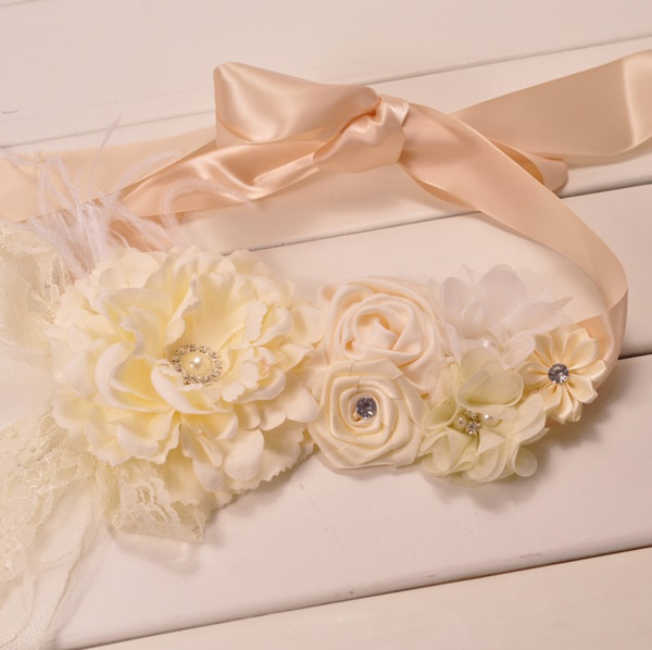 Elegant Peach Dusky Satin Flower Sash Belt With Lace Pearls Rhinestones Feather For Girls Wedding Bridal Sash Accessories KIDOCHEESE