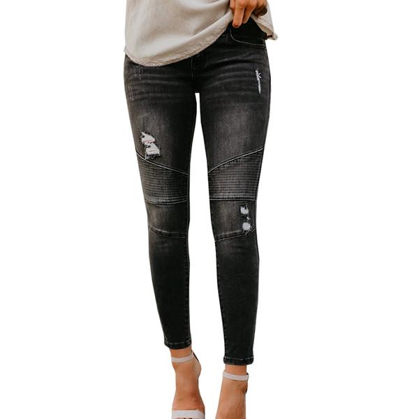 f6a798d68 2018 New Black Denim Jeans Cintura Baixa Zip Jeans de Alta Qualidade das  Mulheres Mid de