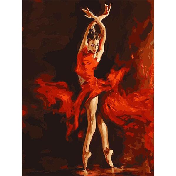 DIY 디지털 인쇄 그림 아트 불타는 댄서 유화 순수 크리 에이 티브 에코 친화적 인 손으로 그린 벽 장식 Frameless 13zc jj