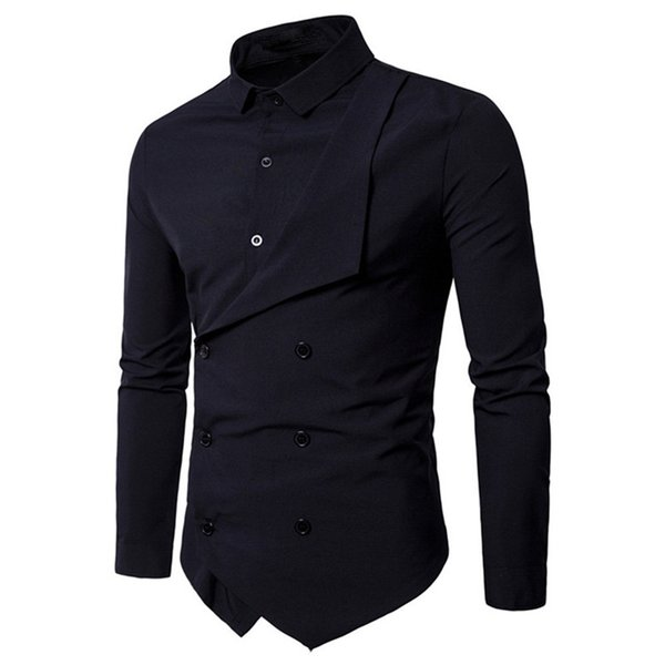 Europe Style Wedding Party Shirt Men Fashion Red Blouse Solid Color Tide Double Breasted Shirts Slim High Quality Male Tops