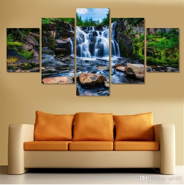 Exquisite Practical Waterfall Painting Frameless Home Decor Canvas Art Pictures Removable Wall Hanging Print With Landscape Scenery 28jj cc