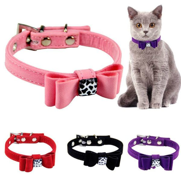2019 Hot sales Soft Seude Leather Dog Collar Bling Padded Bow Knot Puppy Cat Pet Collar For Small Medium Breeds S M