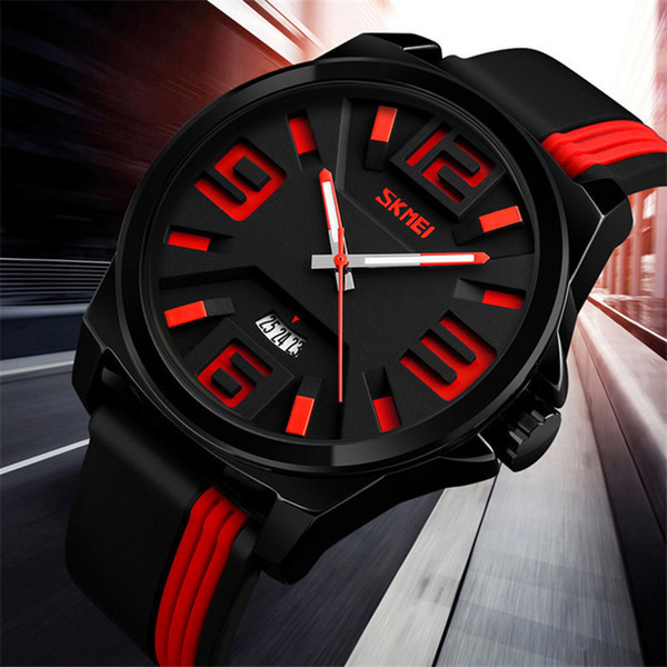 SKMEI Big Dial Fashion Personality Quartz Leather Strap Watches Men Watch 30M Water Resistant Unique Luxury Wristwatches Relogio