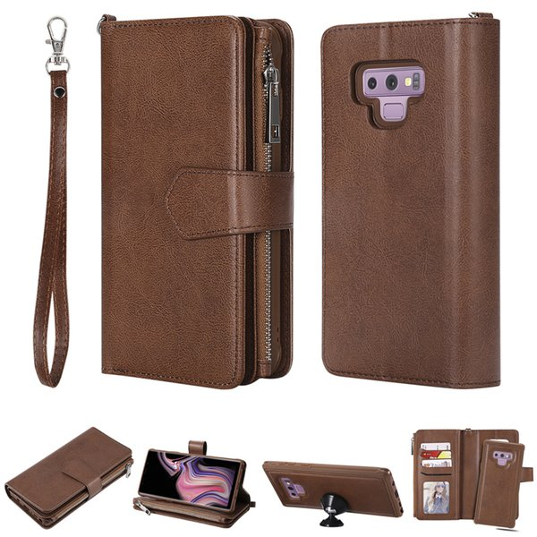 Luxury Zipper Wallet 2 in 1 Leather Flip Case Phone Soft Silicone Cover Shell Coque Fundas Capa for Samsung Galaxy Note 8 Note 9