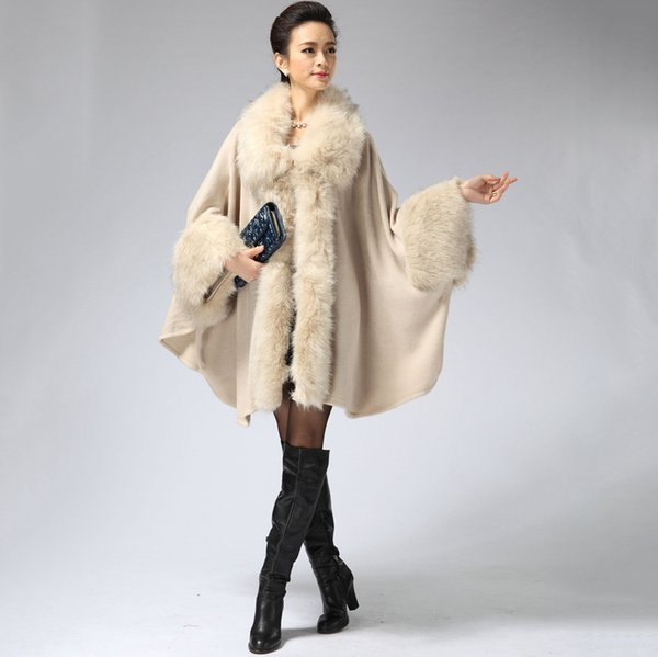 2017 European Russia style women large size cape ponchos with fur collar for female winter cashmere  scarf Wraps autumn