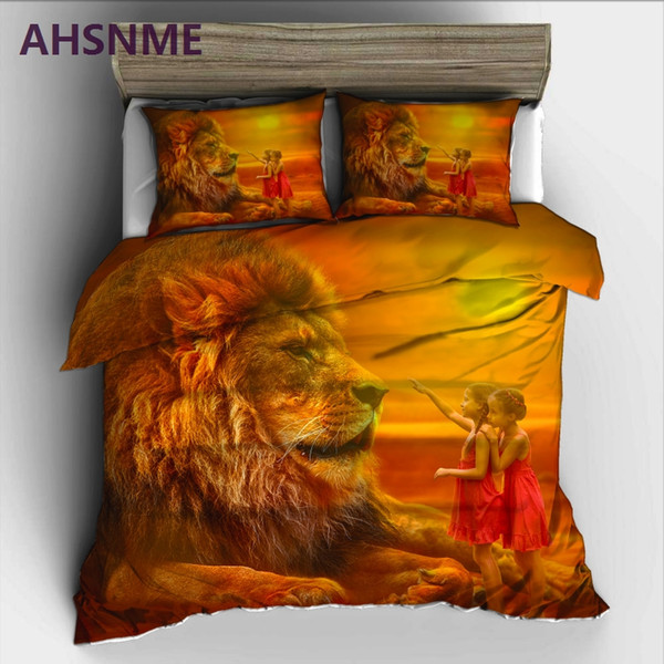 ahsnme giant lion king and dwarf bedding set high-definition print quilt cover for ru au eu king double size jogo de cama
