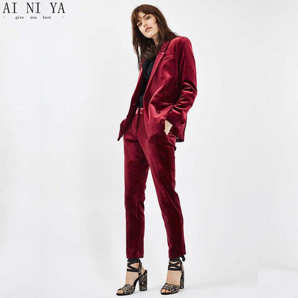 NEW 2018 Burgundy Velvet ladies office uniform pant suits for women business suits 2 piece set women tuxedo designs Custom