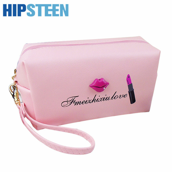 HIPSTEEN Portable Retro Style Cute Fashion Lip Fashion Pattern Cosmetic Bag Durable Travel Organizer Bag (Lips color random)