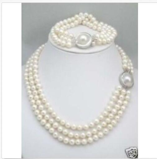 Collar de perlas de HOT Triple Strands South Sea White Conjunto de pulseras Mabe Broche