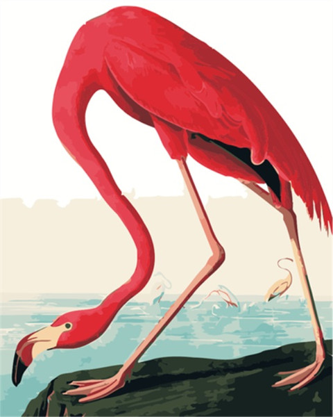 16x20'' DIY Red Flamingo Bent Over Curving Legs Paint By Numbers Kits On Canvas Art Acrylic Oil Painting Frameless For Adults and Children