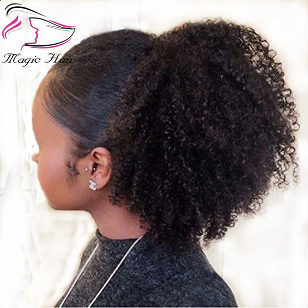 Extensiones de cola de caballo rizado rizado humano Evermagic afro 70-120g Clip de pelo humano con cordón en cola de caballo Pelo remy malasio