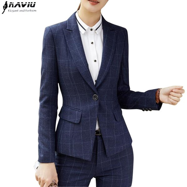 Winter fashion plaid Navy blue women pant suit formal Business long sleeve slim blazer and trousers office ladies work wear