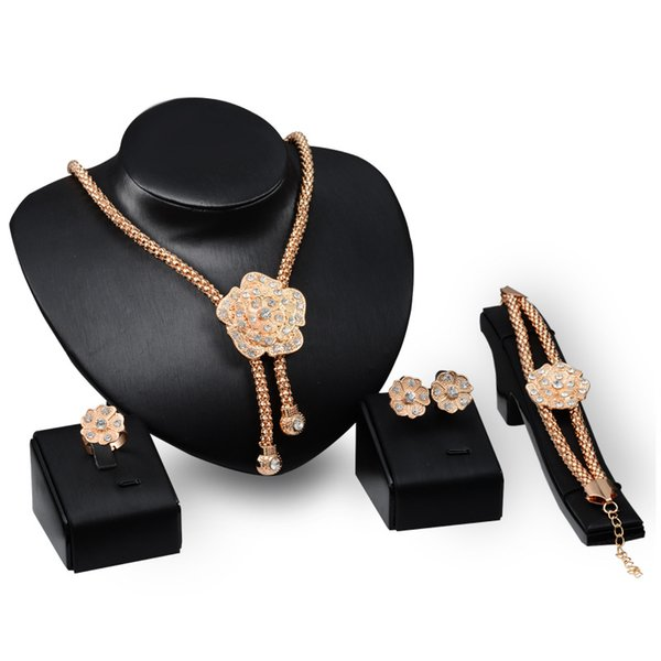 Dubai 18K Gold Pendant Gold Flower Necklace Sets Fashion African Diamond Wedding Bridal Jewelry Sets (Necklace + Bracelet + Earrings +Ring)