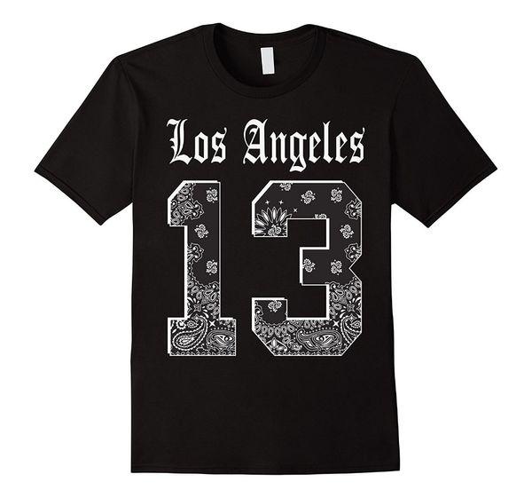 Design engraçado Novo Estilo Dos Homens de Los Angeles 13 T camisa LA Bandana Impressão Jersey T Tripulação Pescoço-Manga Curta Mens Camiseta