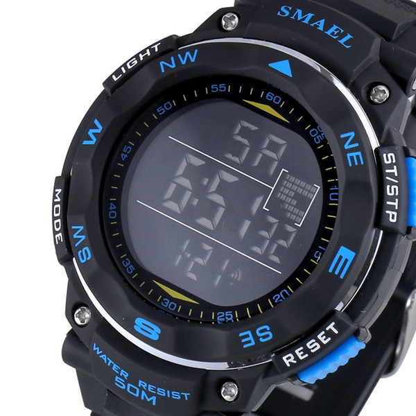 SMAE Digital Watches 50m Waterproof Sport Watch LED Outdoor Electronics Wristwatches 1235 Dive Swimming Watch Led Clock Digital
