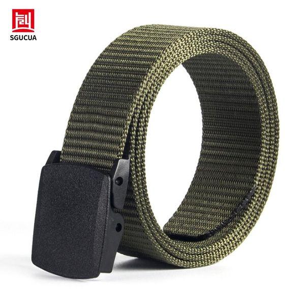 Belt men tactical canvas woven Canvas belts mens Plastic smooth buckle outdoor casual belt waist mans Mutiful Color Brands