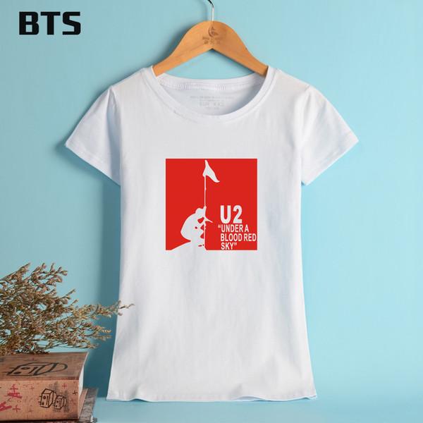 BTS U2 Summer T-shirt Women Brand Tees Tops Short Sleeve Fashion Fans Pattern Funny Tshirt Designs Cotton Girls Tees XL Pink