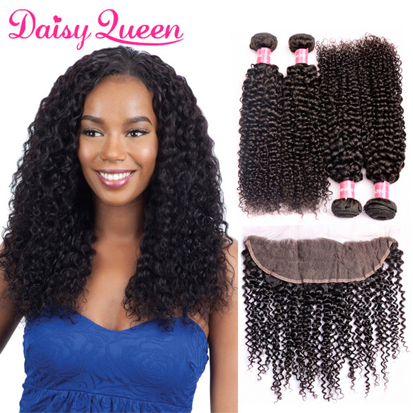 Peruvian Curly Hair With 13x4 Lace Frontal Closure Pre Plucked Wholesale 8A Unprocessed Virgin Human Hair Extensions Cheap 4 Bundles Weaves