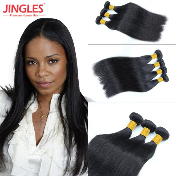 Jingleshair 8A Raw Indian Virgin Human Hair Bundles Bulk Smooth Straight 3/4 PCS Human Hair Bundles Weave Extensions Natural Black for Women