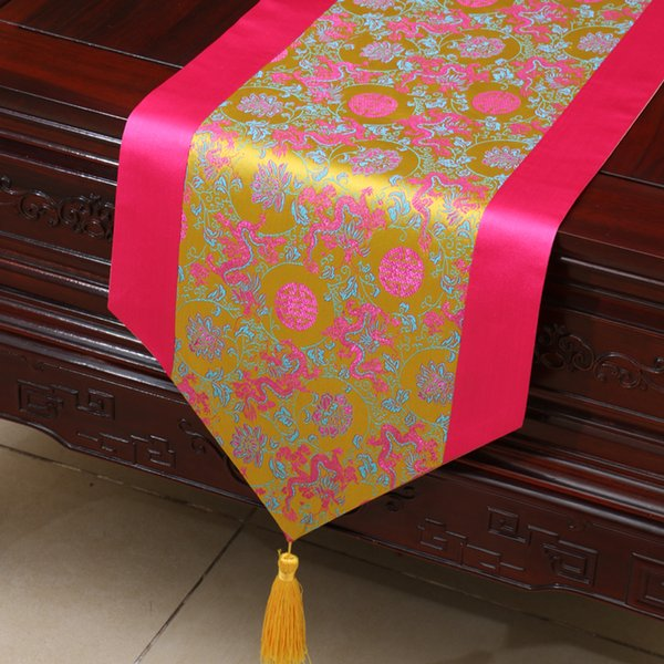 top popular Extra Long Dragon Pattern Chinese Silk Table Runner Wedding Christmas Decoration Table Cloth Rectangular Dining Table Mat 300x33 cm 2021