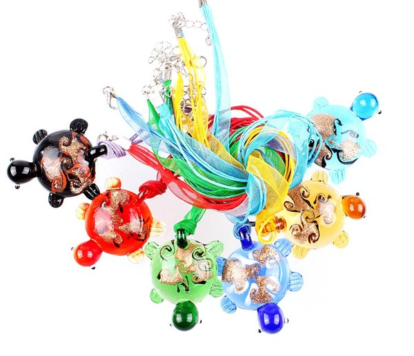 QianBei Wholesale 6pcs/lot Multicolor Gold Sand Turtle murano Lampwork Glass Pendant necklaces Jewelry Accessory handmade Craft Jewelry