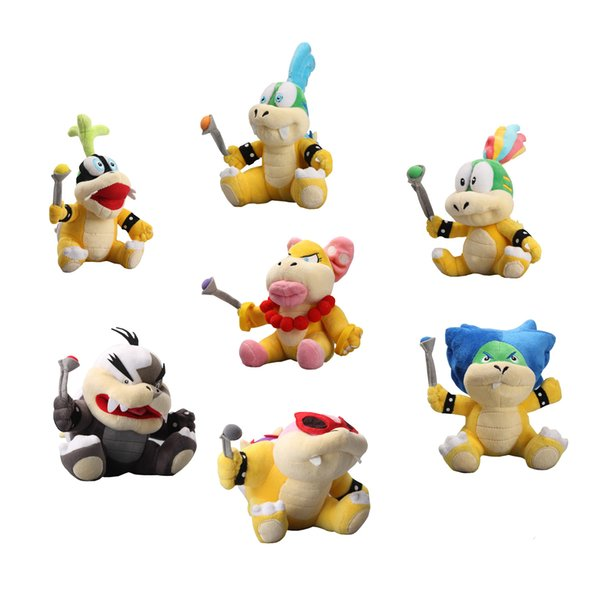 Hot Sale 18-22cm 7pcs/Lot Super Mario Koopalings Larry Iggy Ludwig Wendy Roy Morton Lemmy Koopa Stuffed Toys