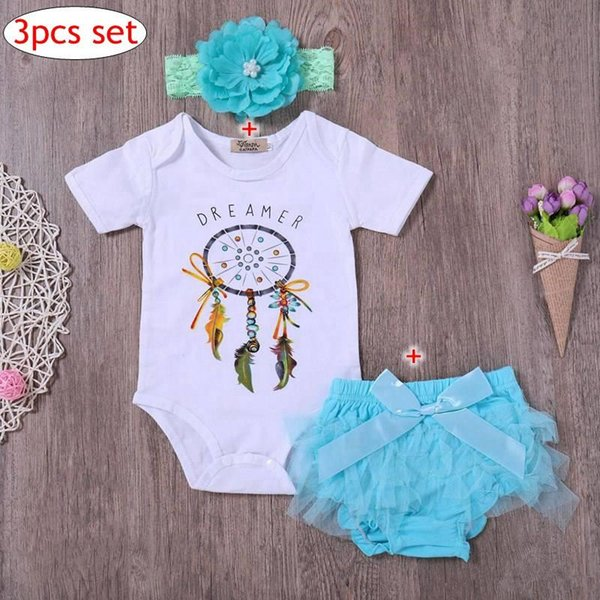 Baby Dreamer Romper 3pcs Sets Toddler Girls White Romper Skirts Headbands Outfit Summer bloomer tutu shorts Outfits