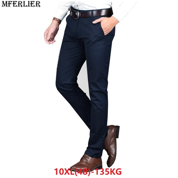 MFERLIER men pants Trousers 9XL 10XL Stretch Elasticity 7XL 8XL large size big simple casual 42 44 46 48 business Straight pants