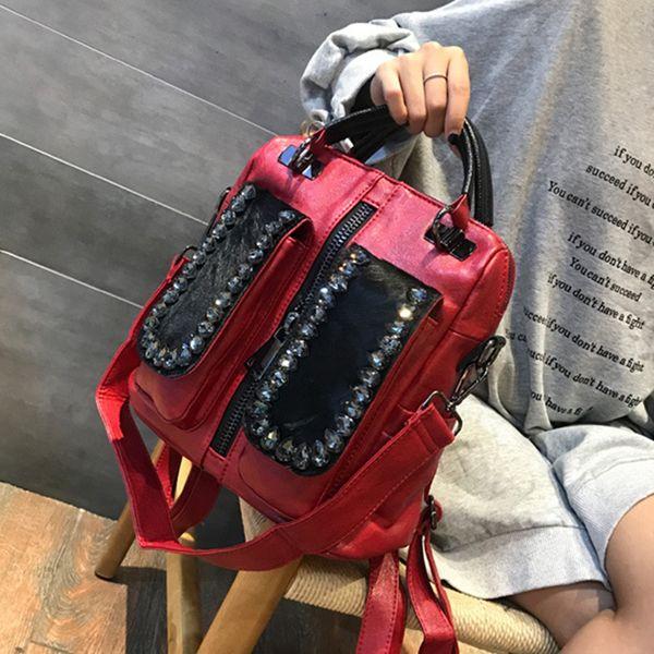 Moda Preppy Style Multifunzione Zaino in pelle PU pelle di cavallo Capelli Borsa a tracolla in pelliccia Borsa da viaggio in pelle da viaggio Ragazzi Ragazze borsa