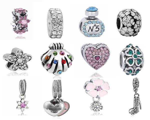 Mixed 30 stücke Kristall Großes Loch Lose Perlen Charms Anhänger mit Kristall Fit Pandora DIY Schmuck Bettelarmband für Frauen Europäischen Halskette