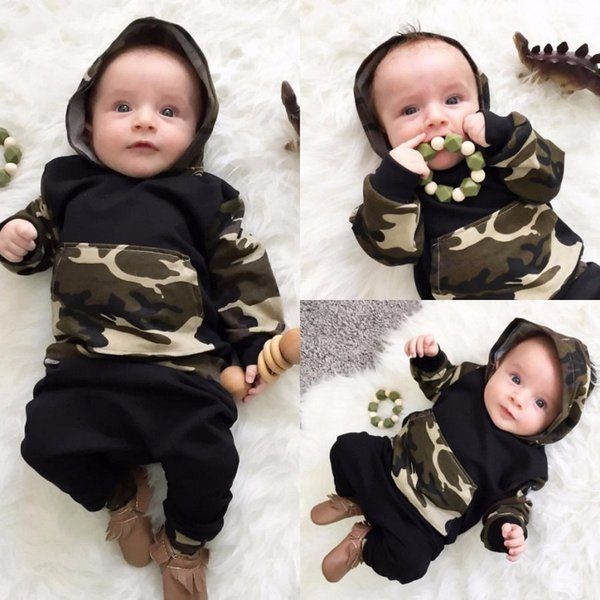 Autumn and winter baby boy clothes baby born Camouflage hats long suit 2 PCS camouflage with hood fleece + leisu