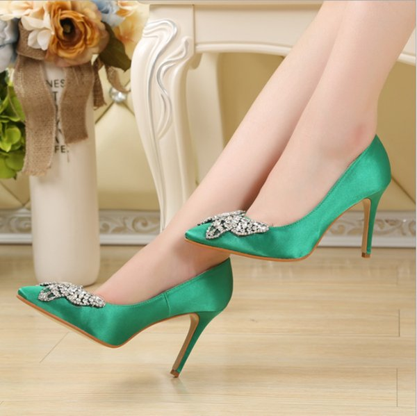 2018 New Fashion butterfly Rhinestone Sequins Wedding Shoes Women High Heels Bridal Evening Prom Party Bridesmaid Shoes