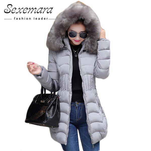 Verkauf 4XL Fell Kapuze Frauen Winter Daunenjacke Baumwolle Schlank Mantel Elegante Casual Langarm Frauen Mantel Parka Große Plus Größe S18101505