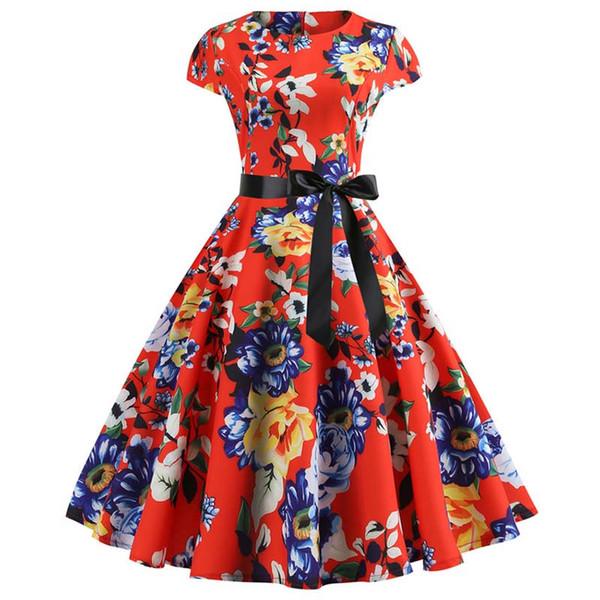 Vestido de fiesta rojo de las mujeres elegante de manga corta estampado floral vestidos vintage Robe Femme 2019 verano nuevo midi bodycon dress plus size