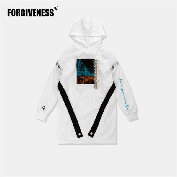 FGSS überlanger Windbreaker mit Kapuze Graben gespleißt verlängerte weiße Jacke 2018 Herbst Pullover Trainingsanzug Mode Jacken