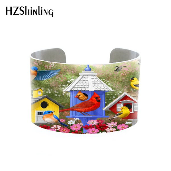 2018 Trendy Funky Birds on Trees Bangle Metal Cuff Colorful Birds Painting Bracelet Adjustable Bangles Printed Jewelry Gifts Men Hallows' Da