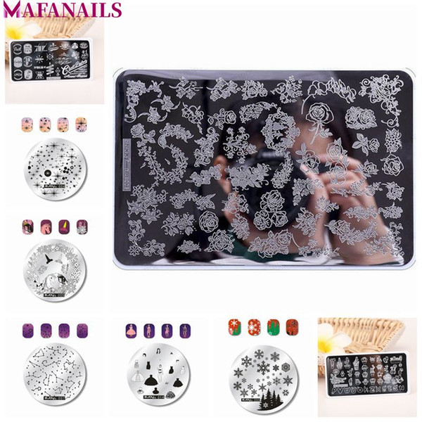 1Pc ZJOY Stamp Plates Round/ Rec/ Big Size (XL) Nail Stamping Template Flower/ Cartoon Stamp Nail Stamping Plates 63 Style