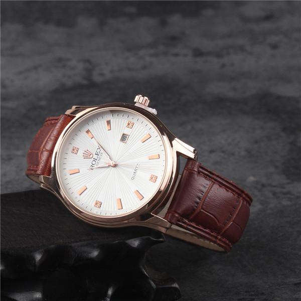 New fashion luxury mann uhr lederband kleid männlich business military clock männlich automatische datum vintage kleid armbanduhren