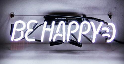 Cool Neon Sign Be Happy for Girls Bedroom Beer Bar Garage Windows Game Room 17*14 inches