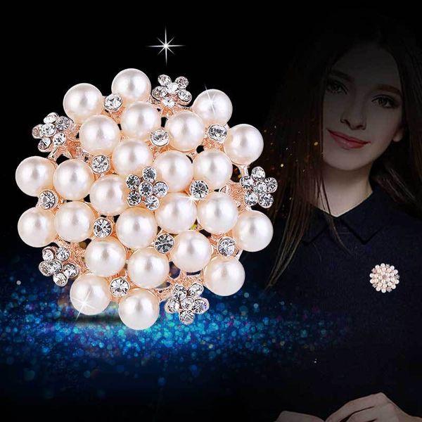 Vintage Silver Tone Faux Pearl&Crystal Flower Pin Brooch Wedding Costume Broach B028 Vintage Imitation Pearl Flower Bridal Bouquet Pin